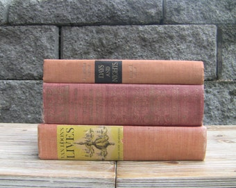 MAKE OFFER! Vintage Books Instant Faded Orange/Coral/Red Collection, 3 Books-Home Decor Wedding Decor Interior Design