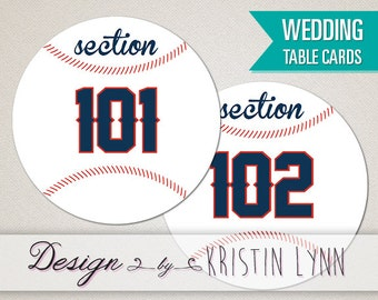 Baseball Wedding Table Cards (Digital Download Only)