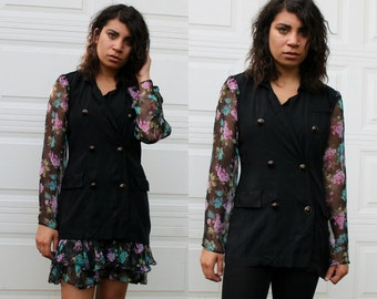 Vintage Button Up  Blazer With Sheer Floral Sleeves