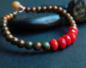 MEDIUM-  Green Opal/Red Crystal Bracelet