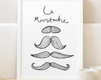 "8x10"" French Moustache Print - French decor - French Print - mustache print - French Poster"