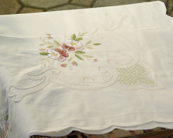 Large Vintage Ivory Cotton Tablecloth with Fabulous Handmade Embroidery  and Scalloped Edge  - Cottage Chic, Vintage  German Linnen
