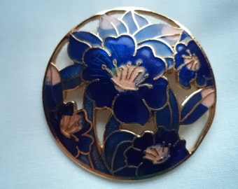 Vintage Unsigned Cloisonne Flower Brooch   Very Pretty