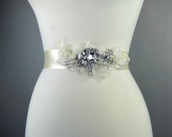 Ivory Bridal Headband Sash Wedding Flower Sash Wedding Accessory Brooches