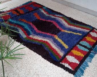 "87""X54"" Vintage Moroccan rug woven using different scraps of used textiles / boucherouite / boucherouette"