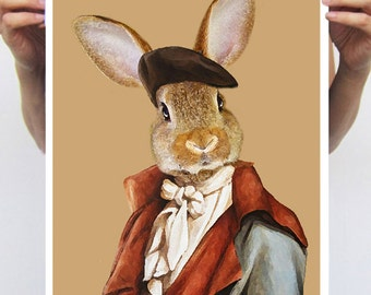 Rabbit Bunny Print, Rabbit Art Print, Rabbit Print, Rabbit Art, Bunny Print, Rabbit Wall Art, Brown, French, Wall Decor, Men, Art Print