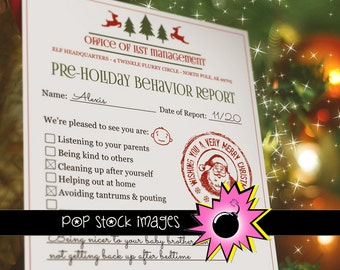 Printable Elf Report - Elf Report Santa - Holiday Warning - Naughty List Report - North Pole Elf Report Printable - Santa Report Printable