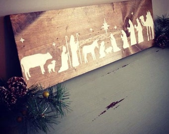 Hand painted nativity on wood, rustic nativity, wooden nativity sign | STAINED