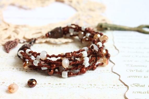 Multistrand Boho Bracelet, Bohemian Macrame Jewelry, Adjustable Hand Knit Bracelet, Brown Beaded Bracelet