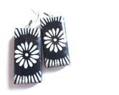 Black White Flower Earrings Bamboo Rectangle Paper Decoupage Resin Surgical Steel Hypoallergenic Hooks