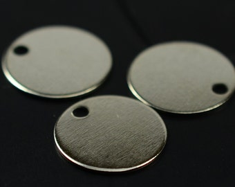 150 Pieces Silver Tone 10 mm Blanks Round Tag Findings
