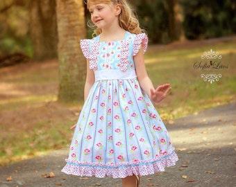Buy 2 Get 1 Free....Instant Download PDF Sewing Pattern Francine Flutter or Flared Sleeve Girls Top Dress  3-6m to 10