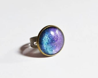 Hand Made Nail Polish Ring with Purple-Turquoise Gradient - Nail Polish Jewelry