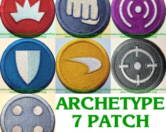 City Of Heroes/Villains Inspiered ARCHETYPE SET A, Blaster, Brute, Controller, Defender, Scrapper, Stalker and Tank  Sew On Or Velcro Back