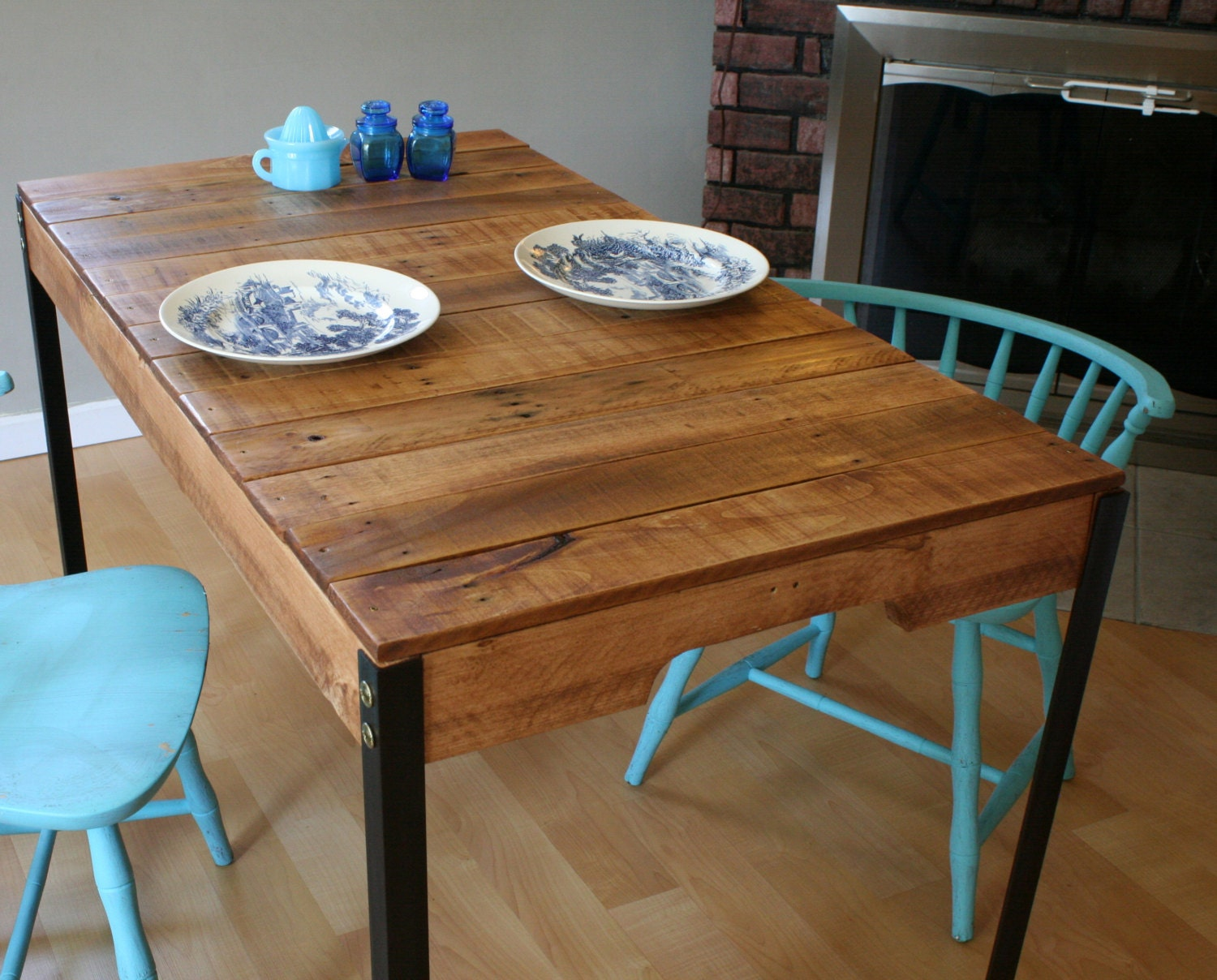 Rustic reclaimed wood table with industrial iron legs made to for Wood table iron legs