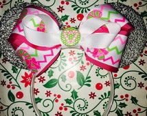 Cute Christmas Girly Holiday Candy Cane Bow inspired Silver Sparkle Minnie Mouse Headband Ears