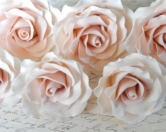 Pink Sugar Gumpaste Roses Wedding Cake Topper Set of 6