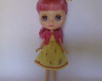 "Hand Made Neo Blythe 12"" Doll or Bratz Doll Lemon Vintage Floral with Ric Rac Trim and Matching Pink Knitted Short Sleeve Cardy"
