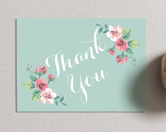 INSTANT Download - Printable Thank You Card - Vintage Floral (mint)