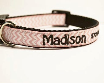 """Personalized Dog Collar - Made to order - pink chevron - Small Dog Collars - 3/4""""-5/8"""" wide"""