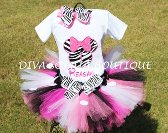 Personalized Zebra Minnie Mouse Tutu Set with Polka Dots - Newborn - Baby Infant Toddler up to size 4T -  Birthday Set