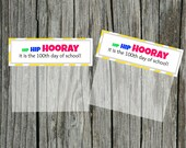 INSTANT Download Hip Hip HOORAY 100th Day of School yellow Goodie Treat Bag Topper  PRINTABLE Download - Fun Family Party diy