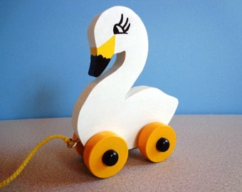 Wooden Swan Pull Toy - Hand Made - Hand Painted - Classic Toy - Graceful - Eco FriendlyToy For Kids