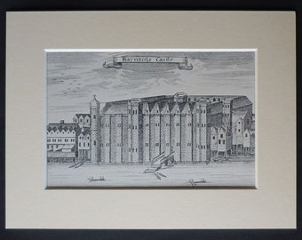 Vintage Architectural Print of Baynard's Castle 15th century historical decor, medieval London architecture art - Old English History Gift