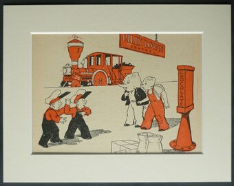 1950s Vintage Children's Print of Toby Twirl at a Train Station Retro steam engine decor, railway nursery art - Vintage Locomotive Gift