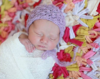Purple Newborn Photo Prop, Baby  Girl Fall Bonnet ,Newborn Girl Purple Knit Bonnet
