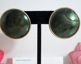 Round Green Enamel Disc Earrings Swirl Retro Costume Jewelry Silver Tone