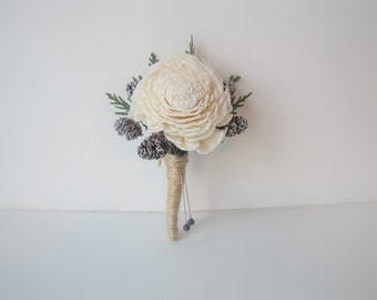 Frosted Pinecone and Cedar Boutonniere - Winter Boutonniere - Rustic Boutonniere - Pinecone Boutonniere - Woodland Boutonniere