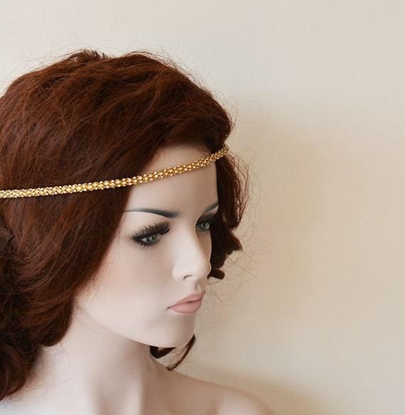 Wedding Hair With Rhinestone Headband : Bridal hair accessories gold rhinestone headband wedding