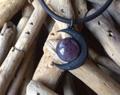 Black Moon and Amethyst Quartz Necklace - Moon Choker