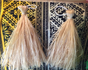 "13"" Long Natural Color Tahitian And Cook Island Medium Hau I'i's/ Hand Tassels..Any Dyed Colors Are Available."