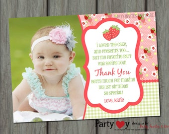 Strawberry Thank You Card, Strawberry Patch Thank You Card, Strawberries Thank You Card, First Birthday Thank You Card, Photo Thank You Card