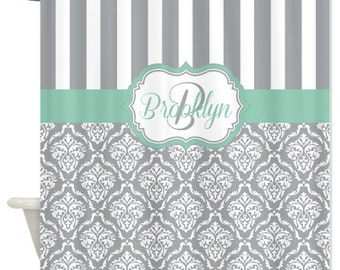 Monogrammed shower curtain Etsy