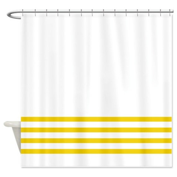 Striped Shower Curtain White With Yellow Stripes OR Customize