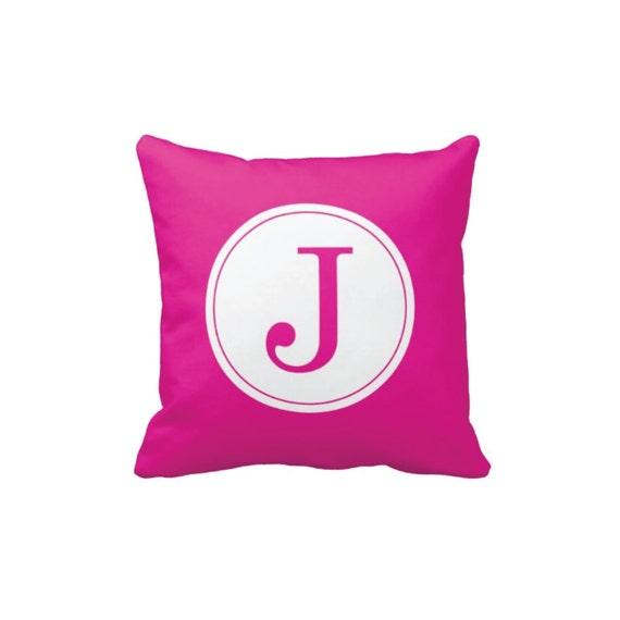 Initial Throw Pillow Covers : Custom Monogram Initial Throw Pillow & Cover-Hot Pink and
