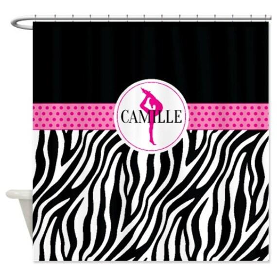 Hot Pink Zebra Bathroom Accessories: Gymnastics Shower Curtain-Gymnast-Zebra Print-Polka