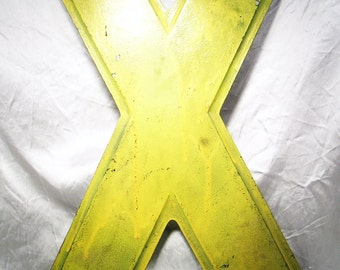 "VINTAGE INDUSTRIAL SALVAGE Large Sign Wall Marquee Letter  'X'- Metal 12"" tall-"