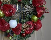 Red and Green Christmas Wreath - Evergreen Wreath - Ornament Wreath - Traditional Christmas - Red and Green Christmas Decorations