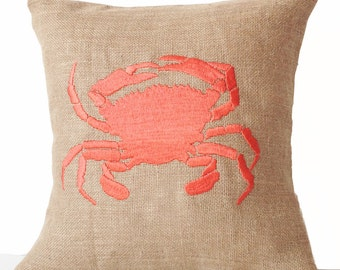 Sea Pillow, Embroidered Crab Pillow Cover, Burlap Pillow,  Nautical Throw Pillow Cushion, All Size,  Mother's day Gift, Beach House Decor