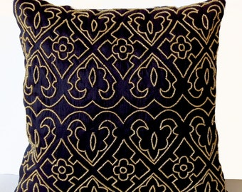 Brown Throw Pillows With Bead Sequin Detail Leaves By