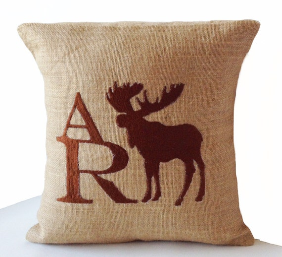Decorative Monogram Pillow : Custom Monogram Decorative Pillow Case Natural Burlap Pillows