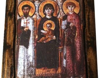 Virgin Mary of St. Catherine on Sinai - Orthodox Byzantine icon on wood handmade (22.5 cm x 17 cm)