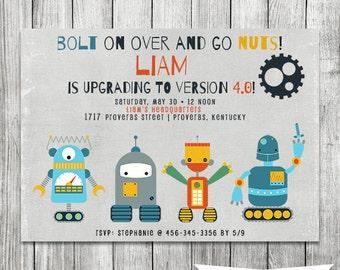 Boy Robot Invitation - Robot Birthday Invite- 5X7