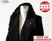 Crochet capelet cape black wrap shawl shimmering wedding stole with flower brooch