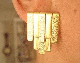 Statement Vintage Gold Tone Pierced Earrings