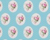 Fabric Sunshine Roses Old Time Rose in Blue Tanya Whelan 1 yard